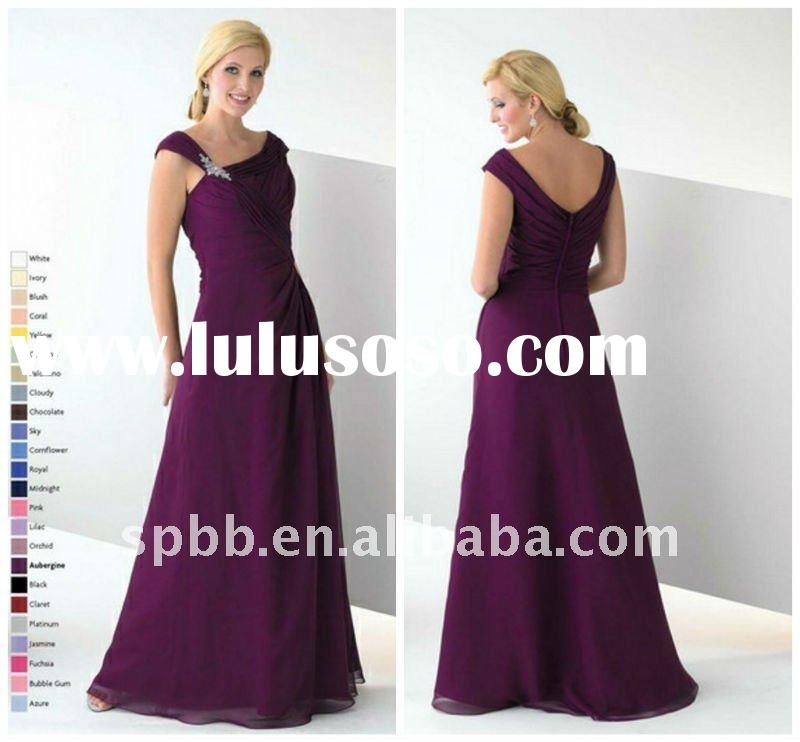 Free shipping MD-017 sleeveless purple floor-length mother of the bride dress
