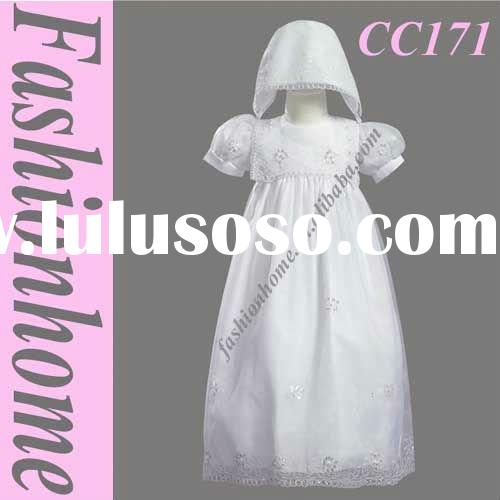 Free shipping Short Sleeve White First Communion Dress with hat CC171