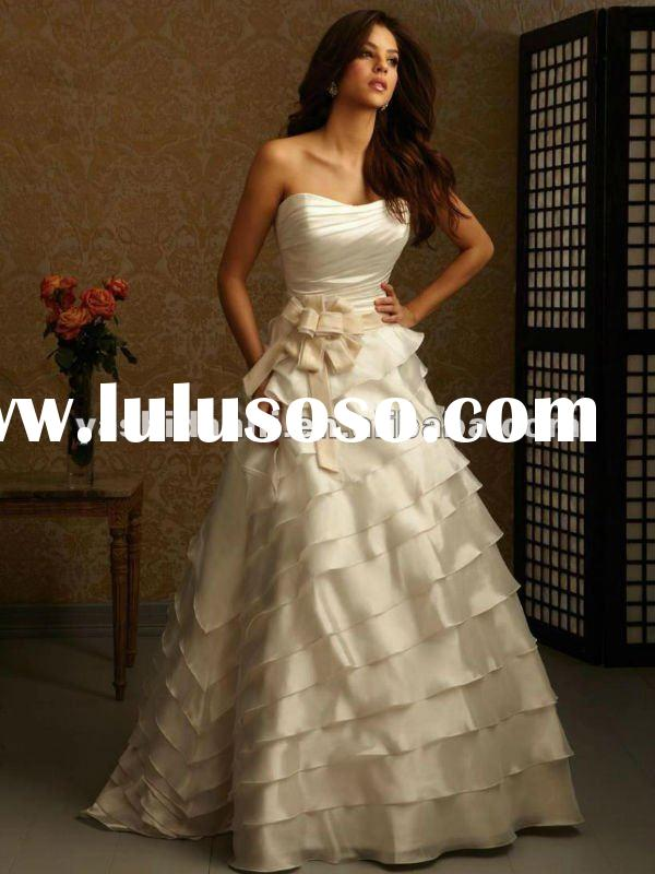 Free shipping! hot sale! strapless weep train multi-layers sash wedding dresses 2012