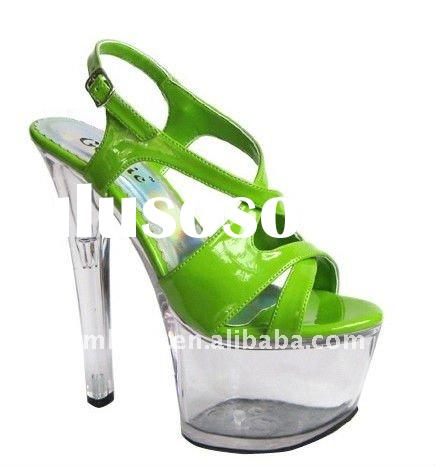 Green Upper PU with Clear Platform sandals/ladies high heel sandals