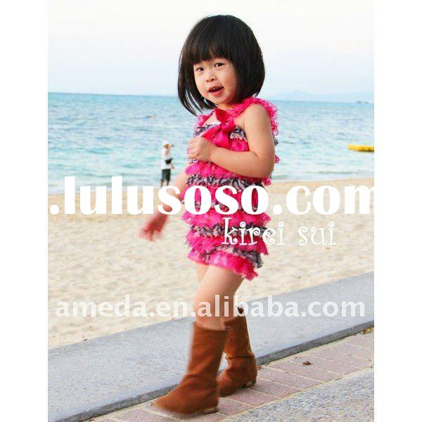 Hot Pink Zebra Lace Petti Rompers with Strap and Bow RSR5