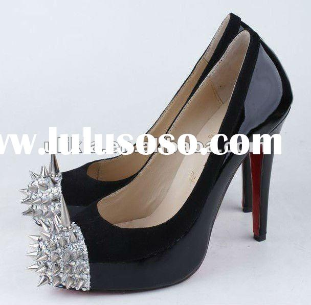 Latest fashion lady high heel shoes platform steel toe high heel shoes