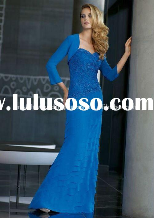 M2061 latest sweetheart tiered navy blue chiffon wholesale lace bodice mother of bridal dresses