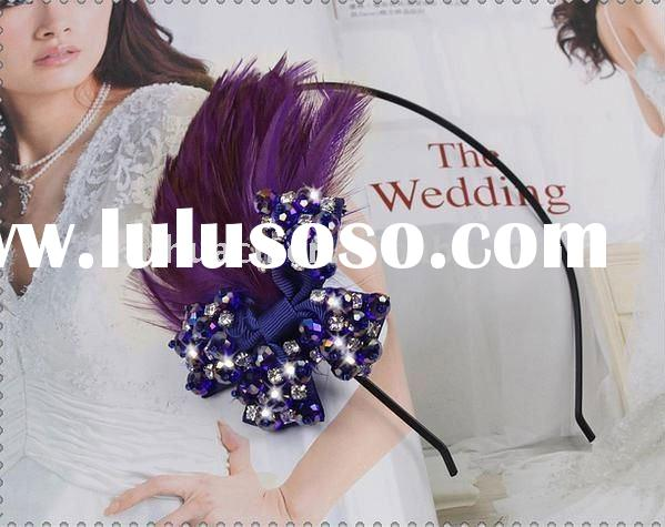 New design hot sale purple feather hair band