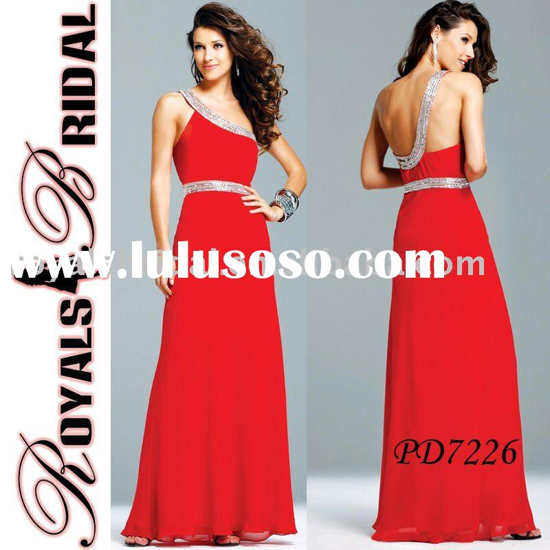 PD7226 Red One-Shoulder Chiffon Evening Dress By Designers