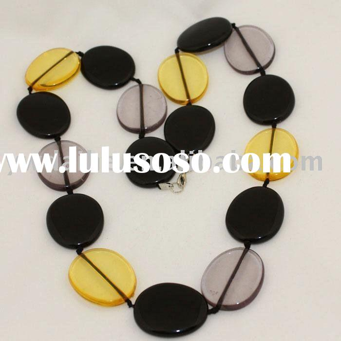 Plastic Coloured Clear Oval Flat Beads Necklace(CSNB-2015)