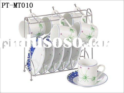 Porcelain Coffee Cup&Saucer with Metal -Standing