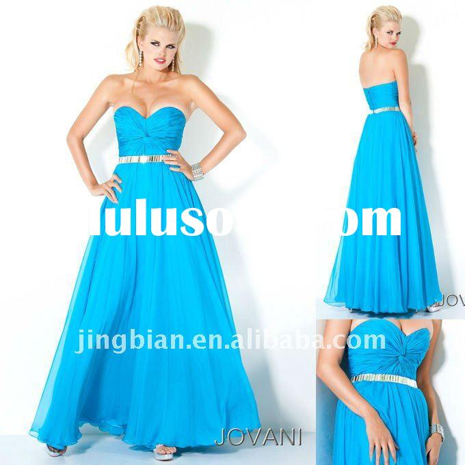 Stunning Party gown Accented with gorgeous mirror like crystal beading for Ladies Long Formal Blue E