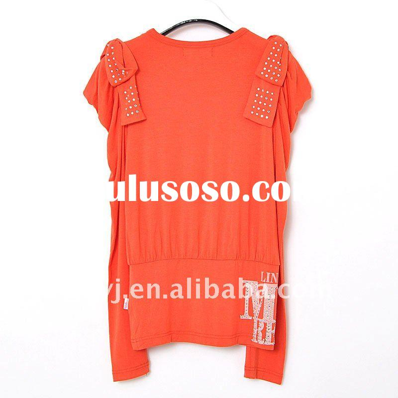 TOP quality fashion breathable frock &blouse design for girls with knitted cotton fabric ,decora