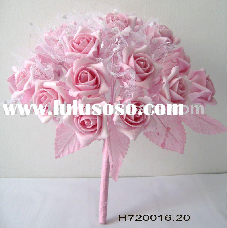 pink rose bouquet for wedding decoration