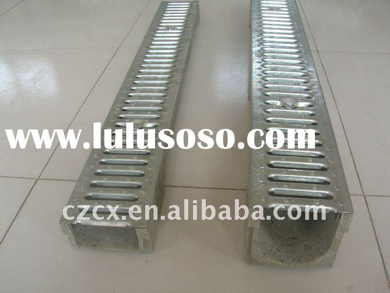 polymer walkway water drainage trench channel with stainless steel bar grating