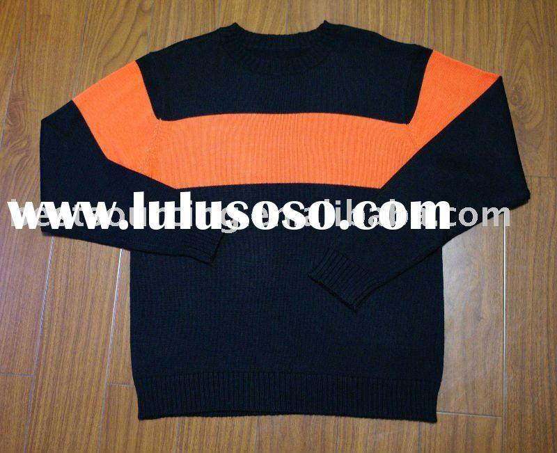 spring autumn knitwear 100% cotton crew neck long sleeve wide stripe sweater men's knitted p