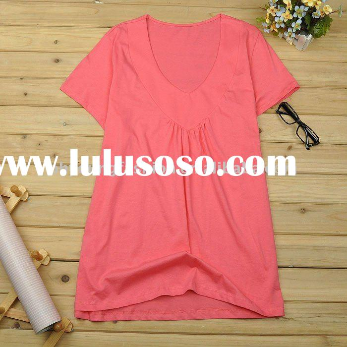 thin and cool pure cotton cloth for women in summer beach short sleeve t shirt