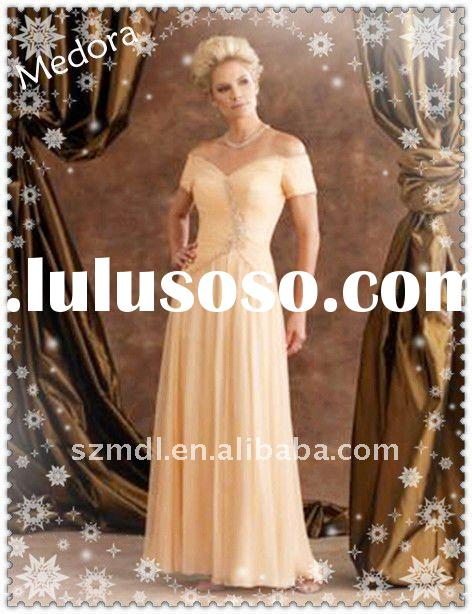 2011 concise elegant short-sleeve embroidered beaded mother of bride dresses