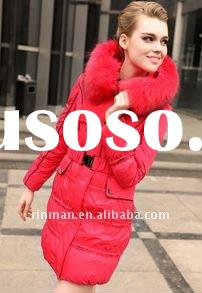 2011 new hottest selling fashion fur collar slim down jacket for women