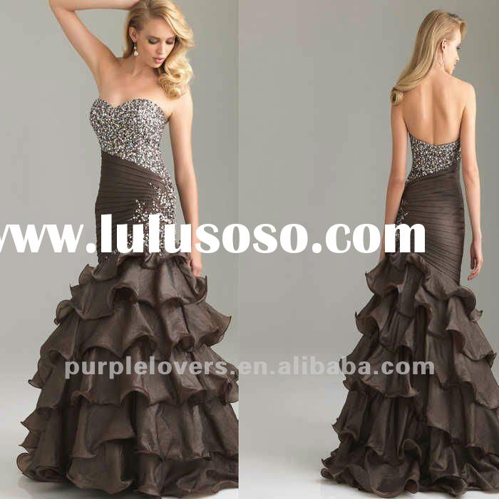 2012 Fashion Strapless sweatheart Beaded Party dress