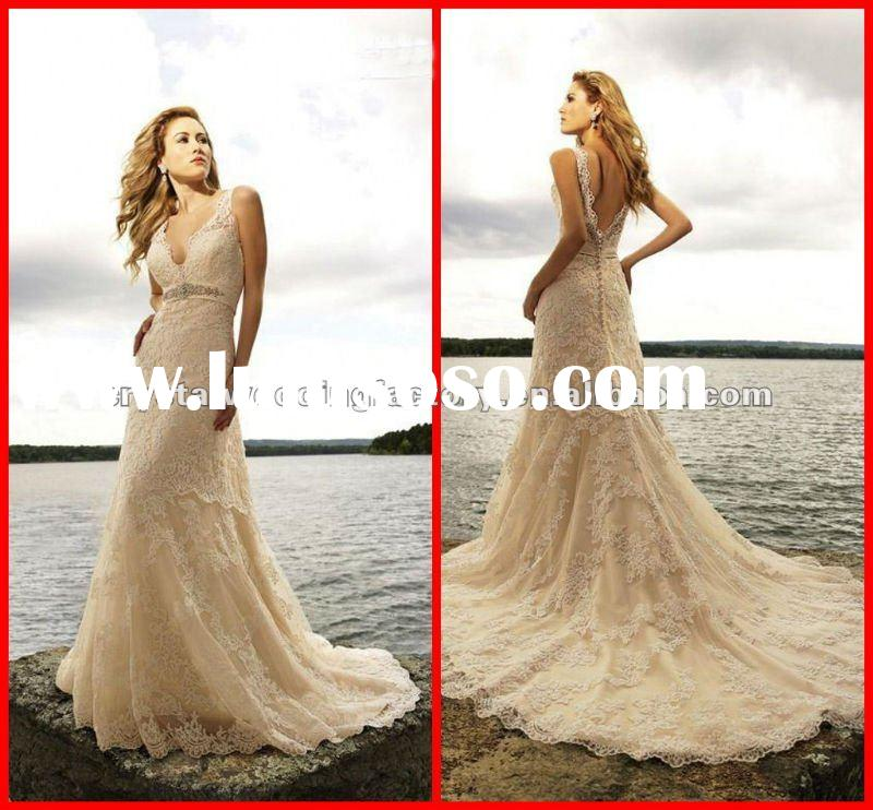 2012 hot!! luxurious V-neckline beaded lace champagne custom-made chapel train bridal wedding dress