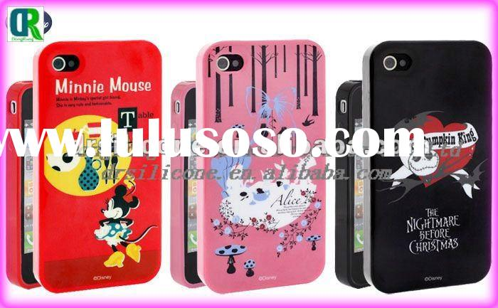 Cute cartoon design embossed silicone phone skin for iphone 4g