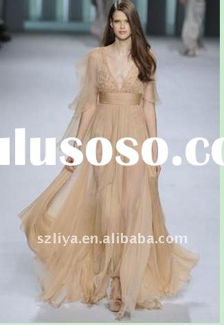Elegant flowing chiffon long evening dress fashion 2012