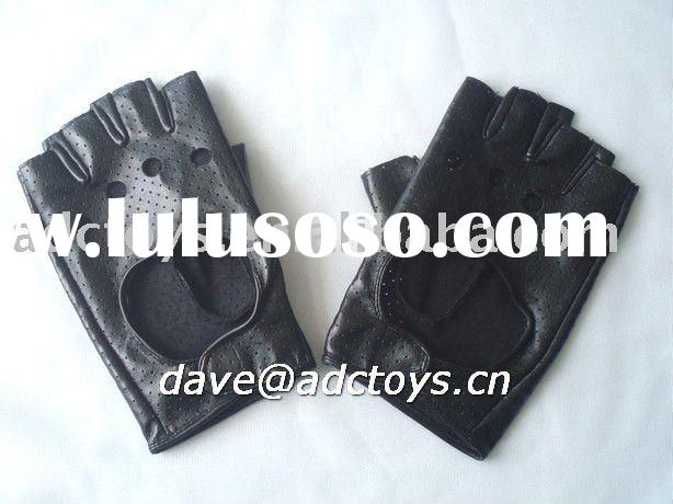 Fake Leather Black Cheap Fashion Ladies Fingerless Gloves