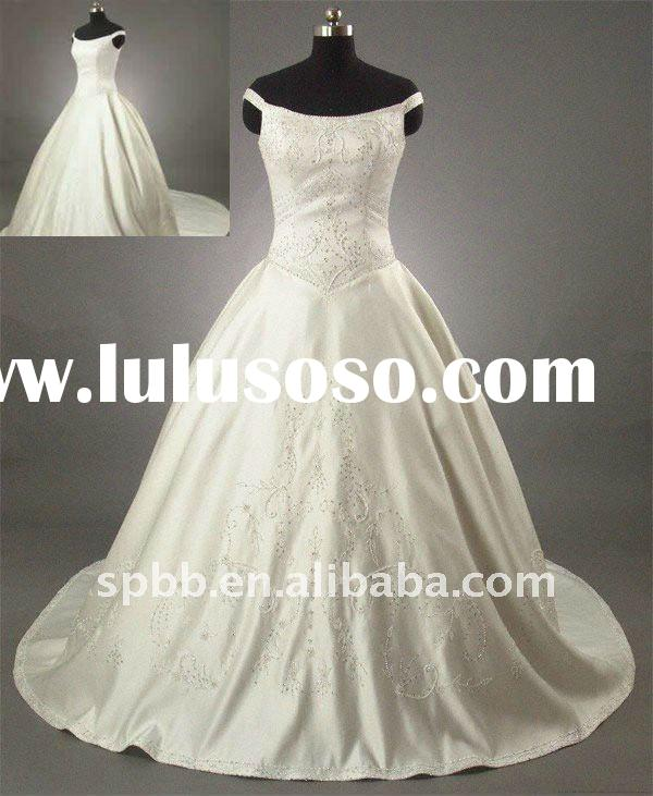 Free shipping real sample W-501 cap sleeve ball gown long embroidered bridal wedding dress