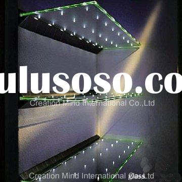Glass display shelf inlaid energy conservation LED light
