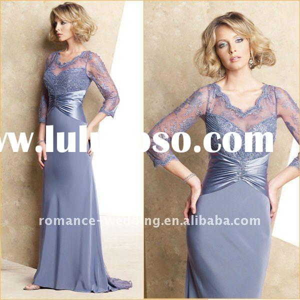 ME0082 2011 Elegant Embroidered Long Sleeve Lace Mother of the Bride Dress