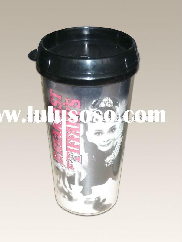 Plastic double wall coffee cup with lid