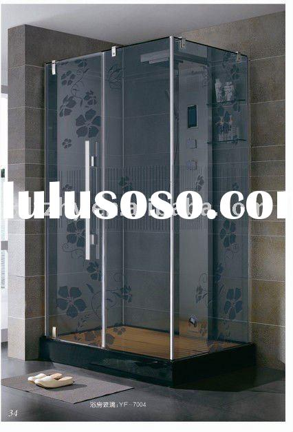 Shower room glass, acid etched decorative glass