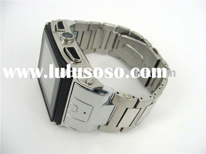 Waterproof Wrist Cell Phone ( Hot sale Stainless Steel Waterproof watch mobile phone, OLED resistive
