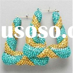 Wholesale Celeb Inspired Gold Topaz Teal Bamboo Earrings With Rhinestones