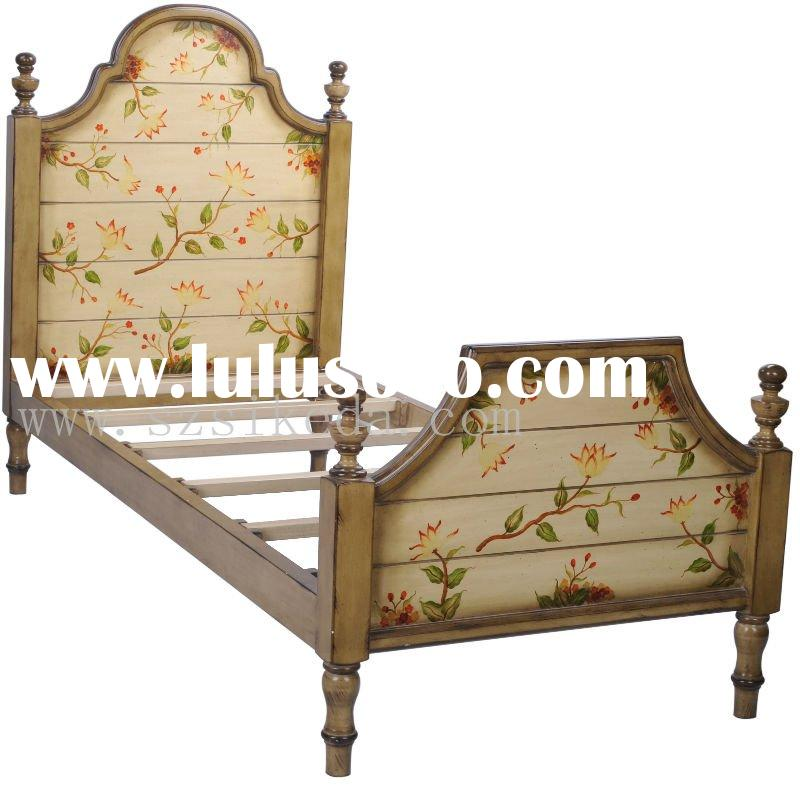 Wooden Bed/ MDF + Solid Wood Craft/ With Hand Painted Flower Pattern