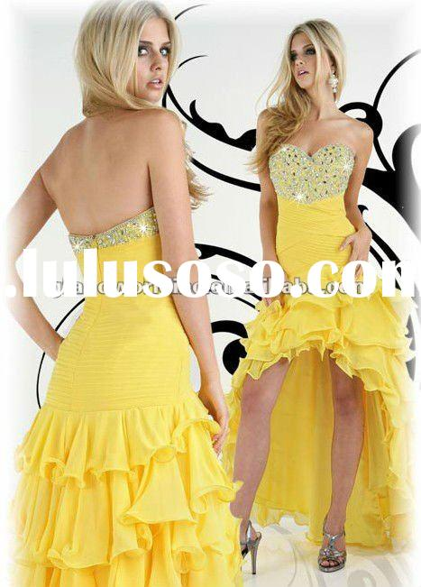 Yellow Chiffon Sweetheart Hot Sell Evening Dresses Prom Gowns IMP-058