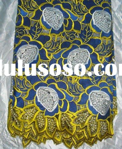 royal blue swiss cotton lace with rhinestones