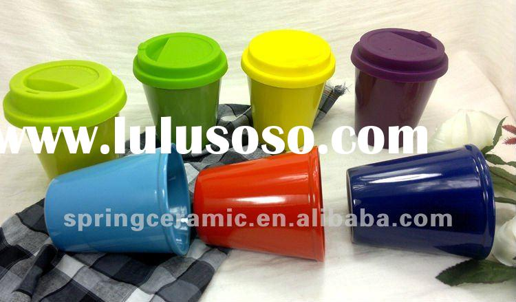 solid color custom ceramic coffee mug with silicone lid