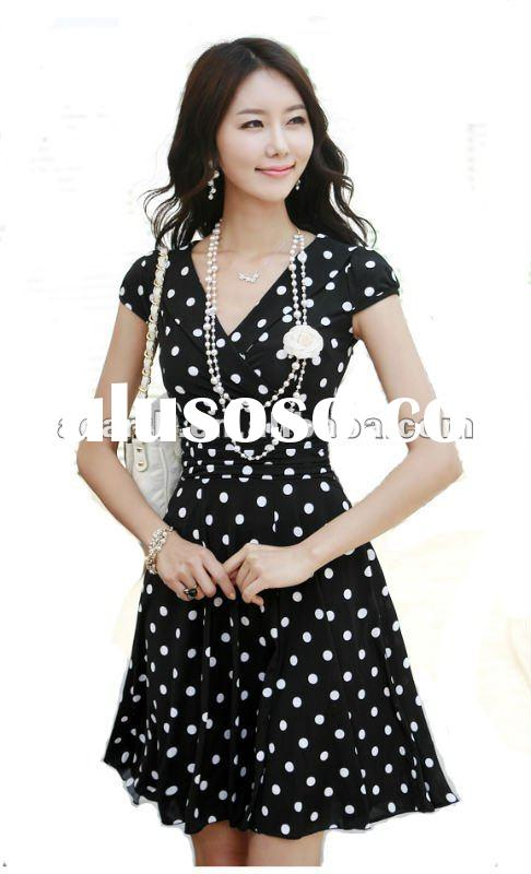 whole sale Fashion summer dress for women 2012 with dot printing
