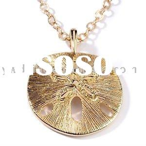 2011 fashion round shape gold plated sand dollar pendant necklace