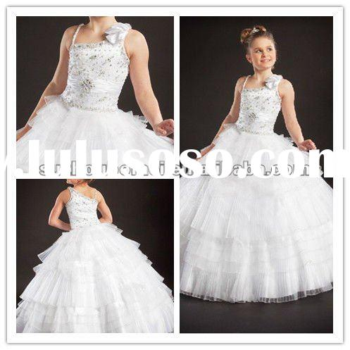 2012 New Arrive Off Shoulder Ruffles Beaded Braded floor-length wedding Junior Ball gown bridesmaid