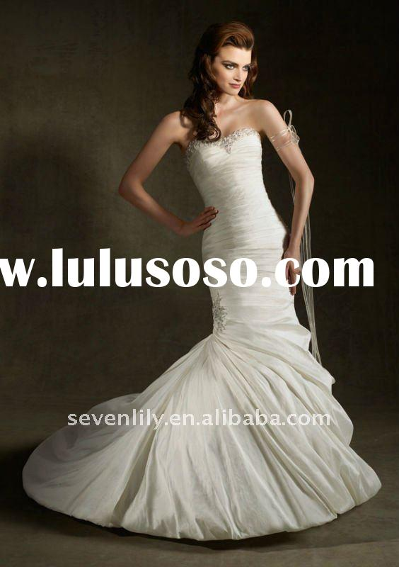2012 New Strapless Nice Pleated Mermaid Style Taffeta Wedding Dresses
