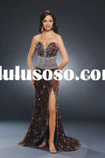 Chocolate Brown Strapless Evening Dresses Prom Dresses Party Dresses Sweetheart Neckline Beaded