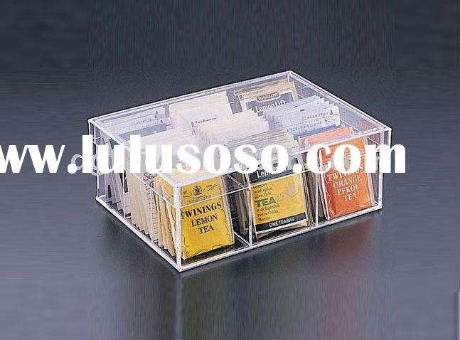 Clear Acrylic Tea Bag 9 Compartment Box