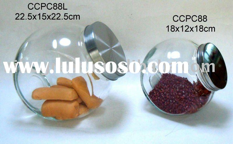 Clear glass candy jar with s.s. lid (CCP388L, CCP388)