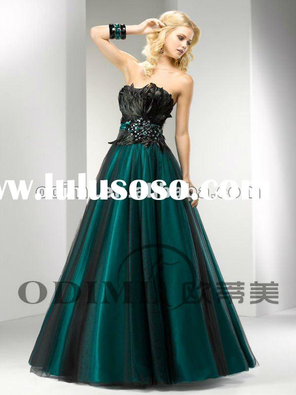Elegant Ball Gown Long Feather Prom Dress 2012