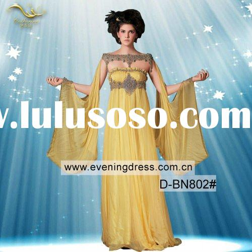 Elegant Yellow Chiffon Appliqued Long Sleeve Indian Style Prom Dresses 2012 D-BN802#