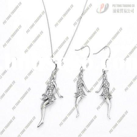Fashion jewelry 925 sterling Silver charms beauty Necklaces earrings