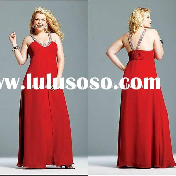 Hot sale halter beaded floor length plus size prom dress with stole CWFap229