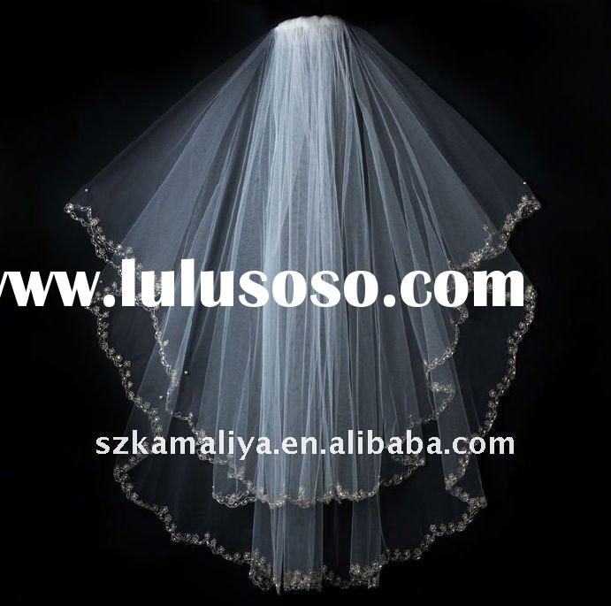 Lace Beaded Edge Bridal Veils Suzhou design