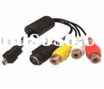 Micro USB Cable Assembly, Mini USB to RCA x 3 + DIN, Suitable for Digital Camera