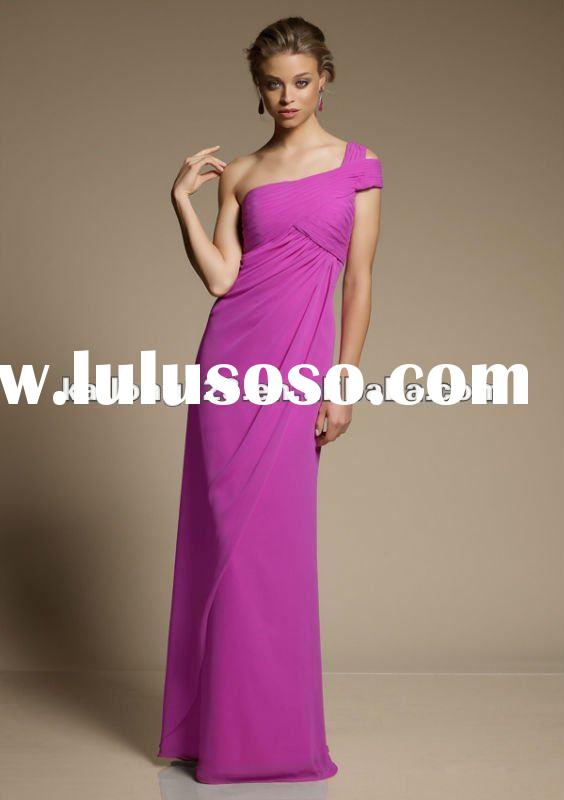 One-shoulder Cap Sleeve Empire Sheath Maid Of Honor Dress