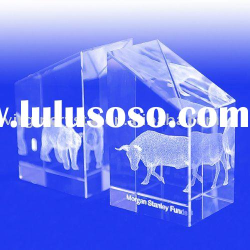 Optical Crystal Laser Engraved Cow Business Bookends